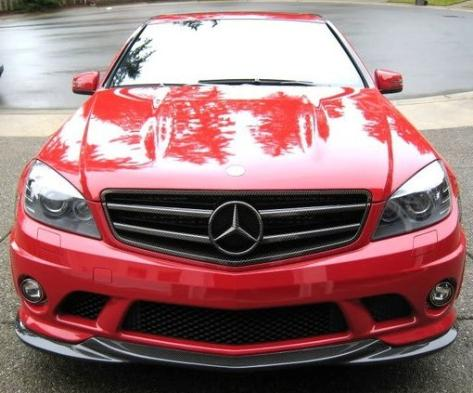 C-Class W204 C63 Front Lip Spoiler In Carbon V2 2008-2011