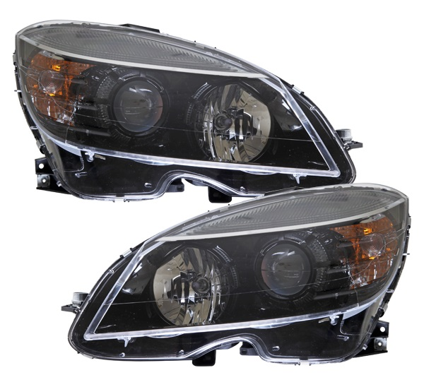 C class w204 black oem style projector headlights 08 11 for Mercedes benz aftermarket headlights