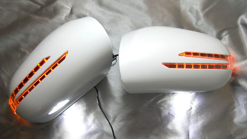 W211 E-Class V2 White Mirror Covers With LED 03-06
